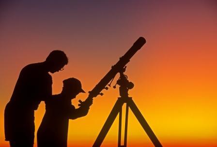 telescope night sky parent child