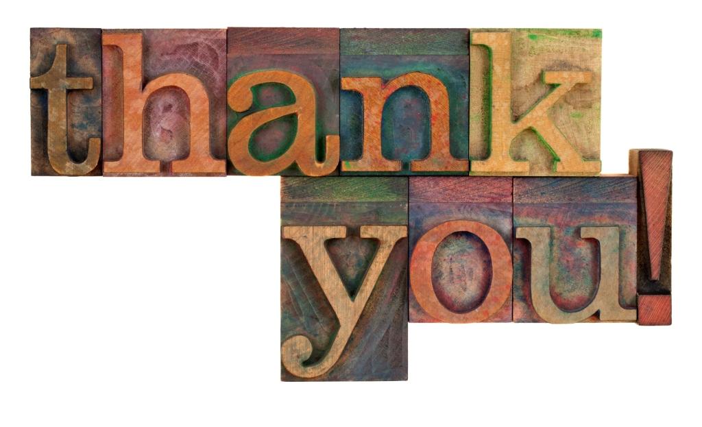 thank you letterpress type