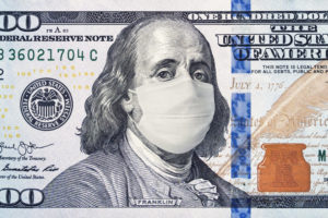 $100 bill with Benjamin Franklin wearing a face mask
