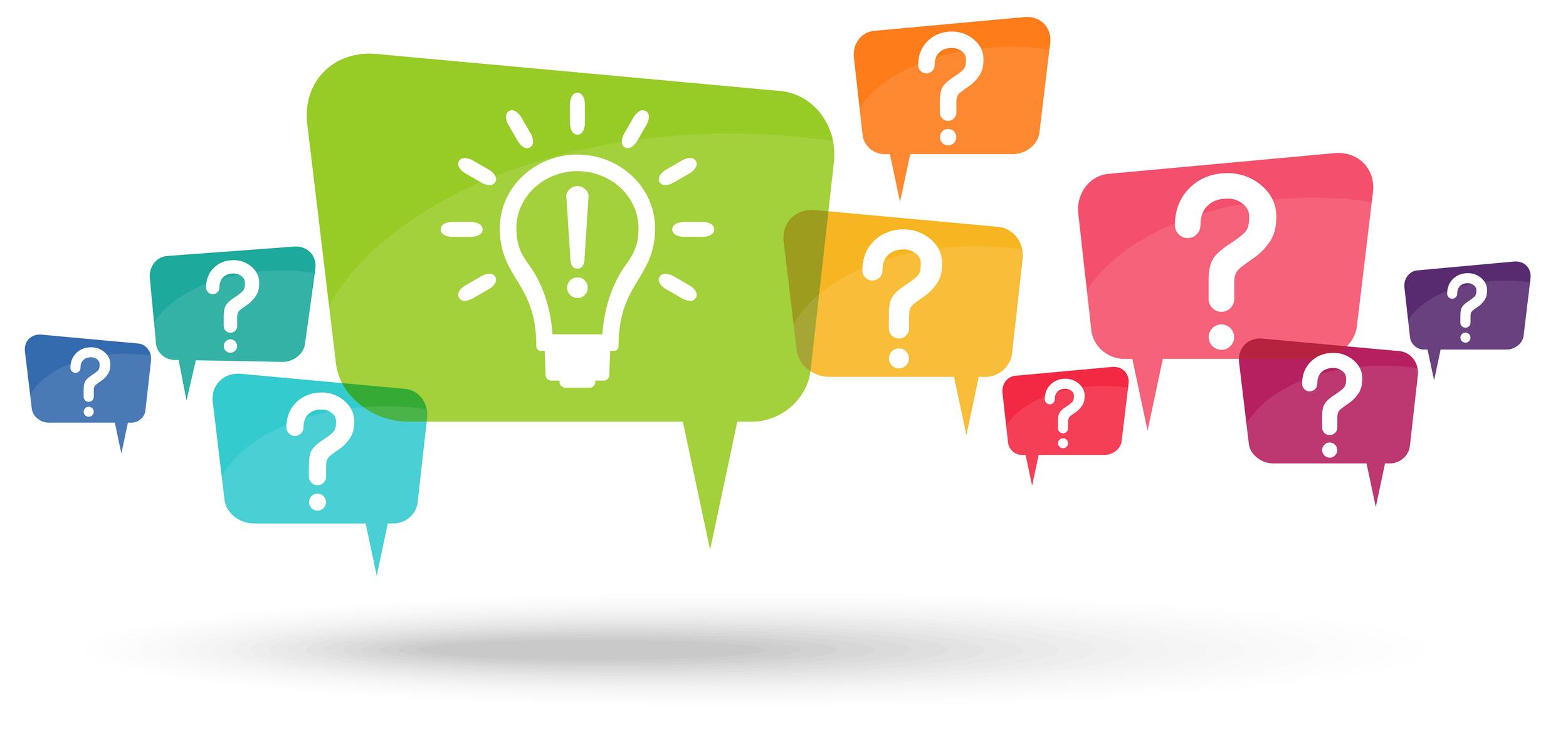Question Marks And Idea Light Bulb Bubbles