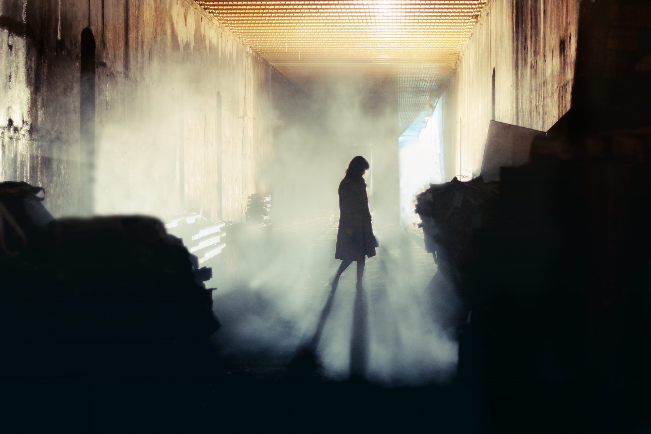silhouette of mysterious woman