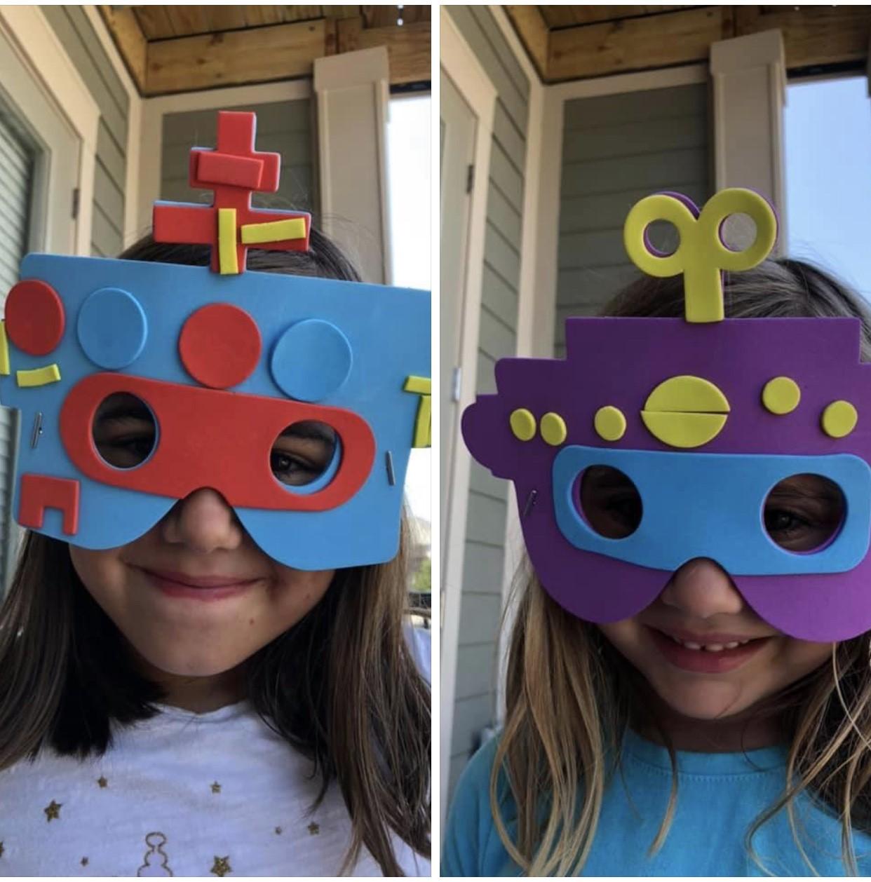 Girls Wearing Robot Masks