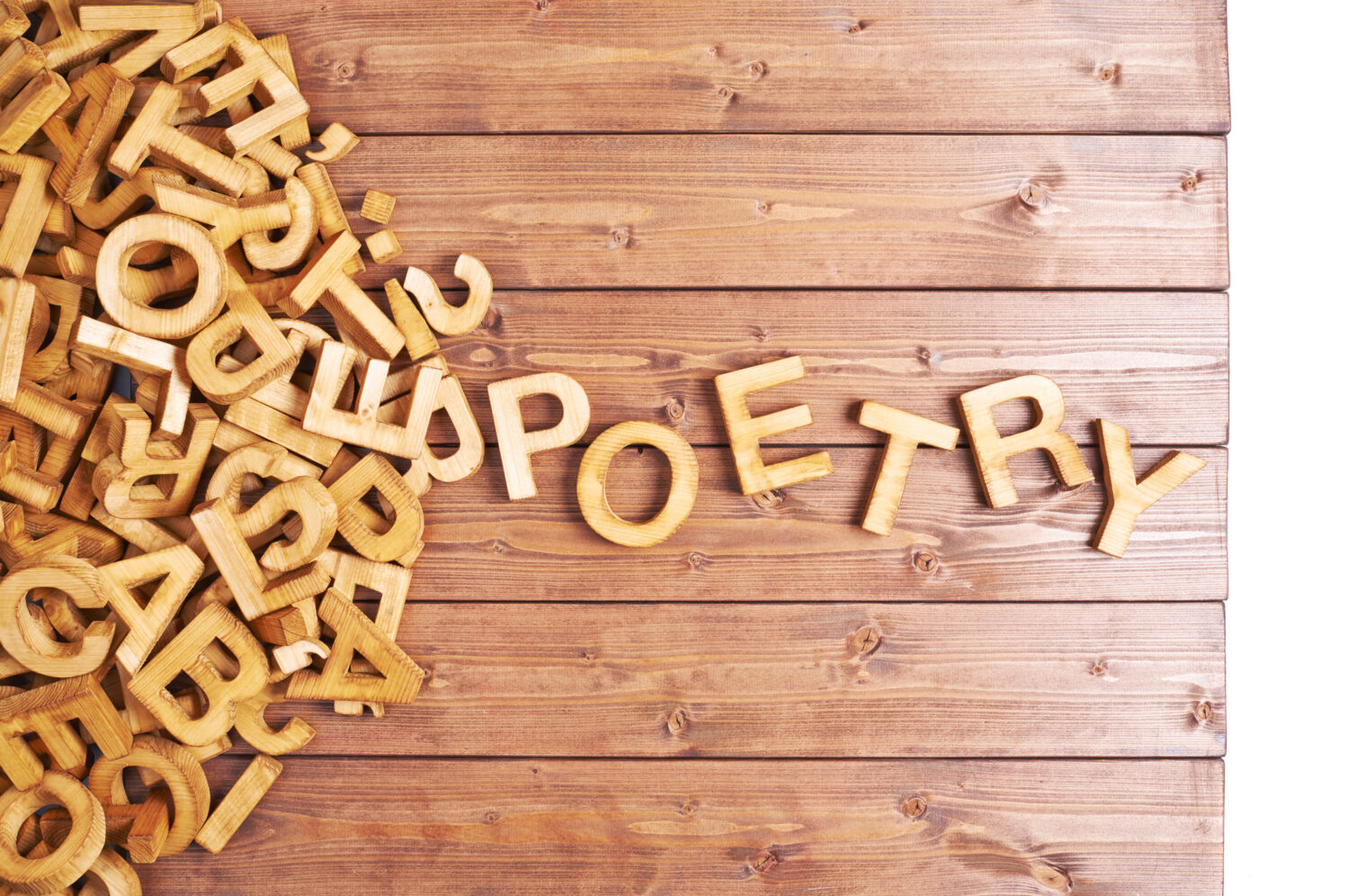 Wooden Letters Spelling Poetry