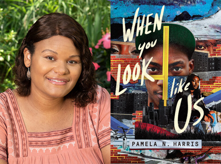 Composite Picture Of Author Pam Harris And When You Look Like Us Book Cover