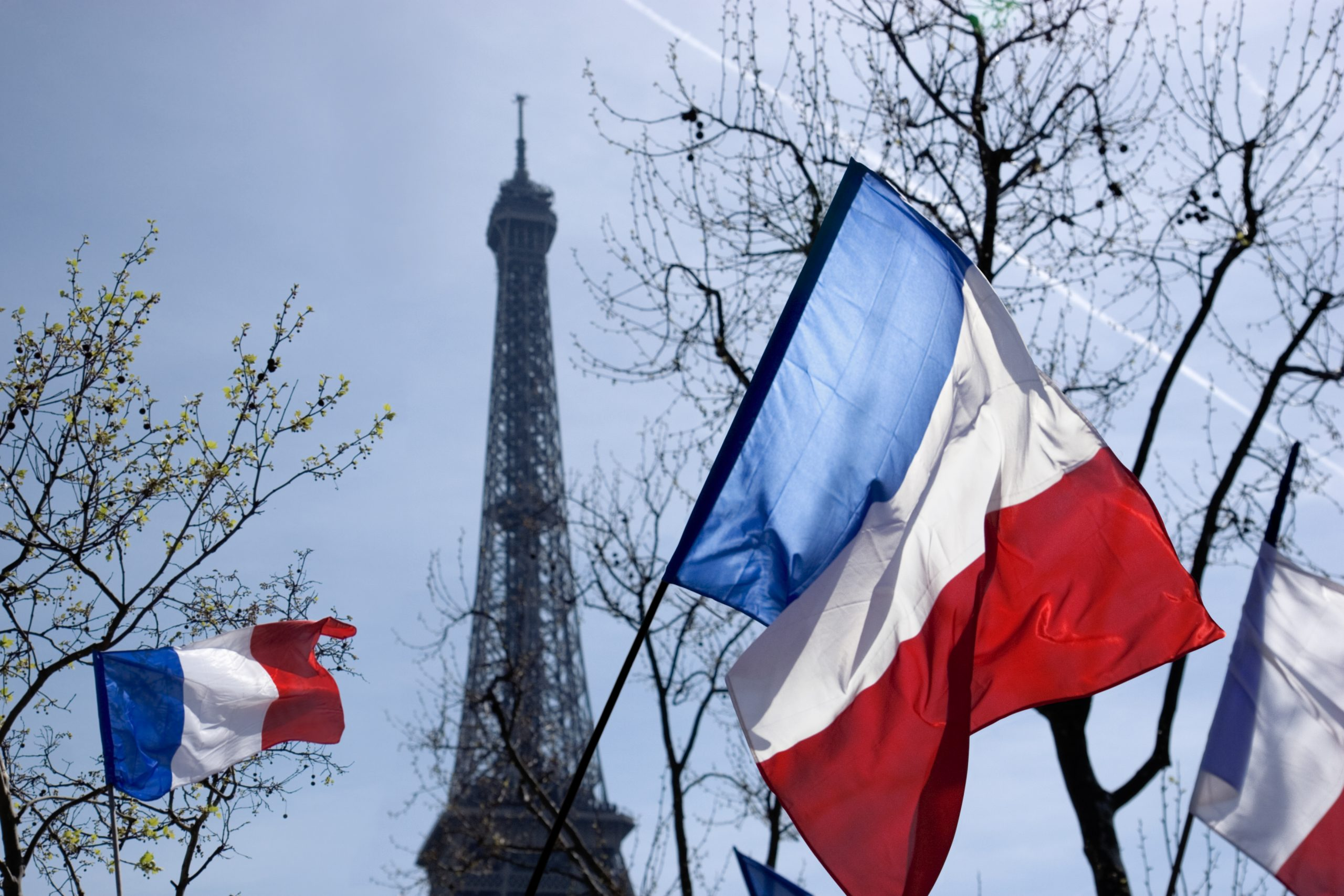 French Flags And Eiffel Tower