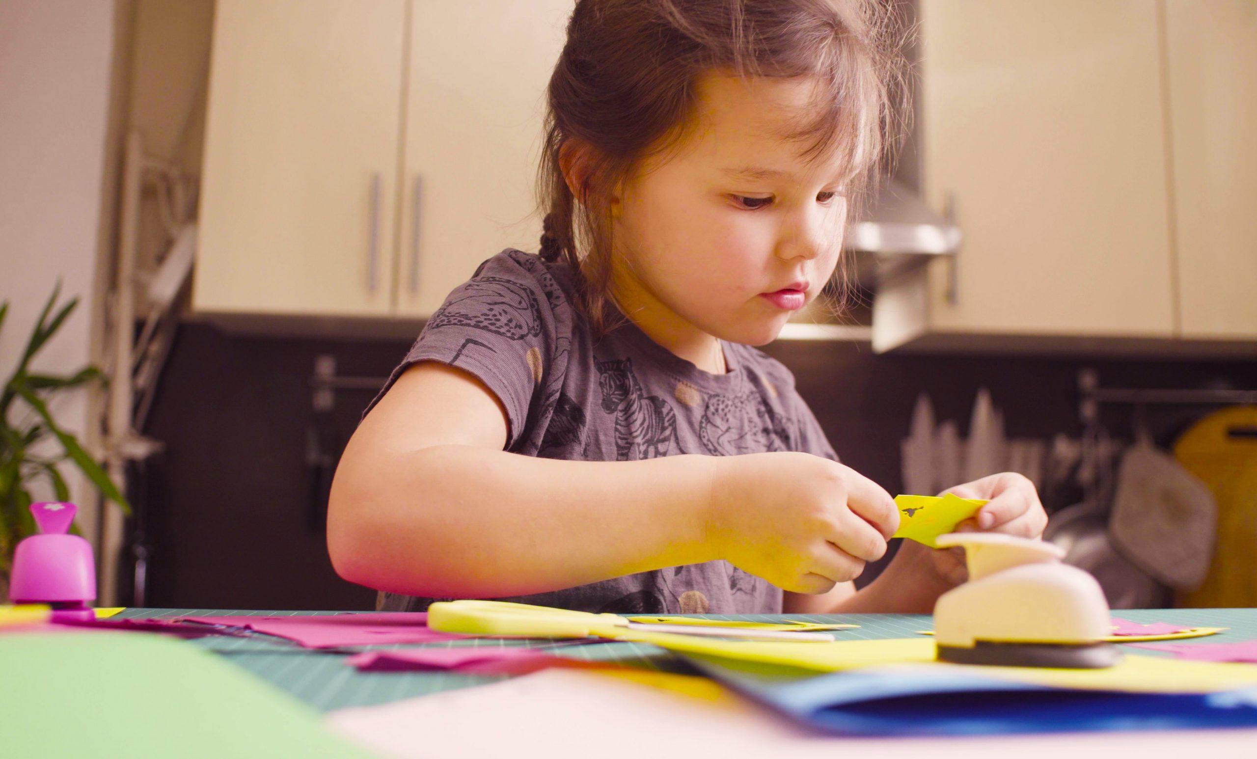 Little Girl Doing Crafts