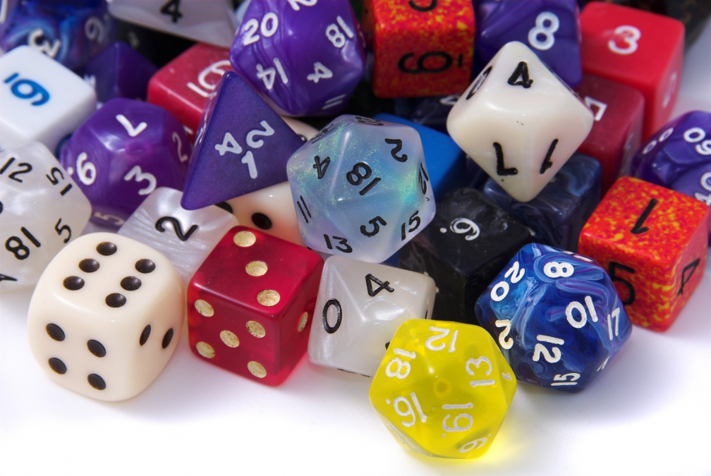 Pile of multi-sided dice